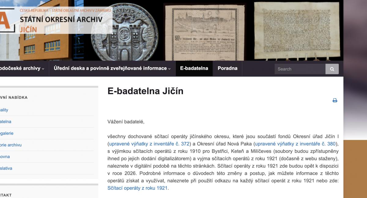 Státní okresní archiv Jičín - ebadatelna